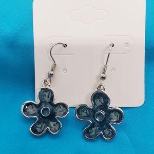 Flower fish hook earrings